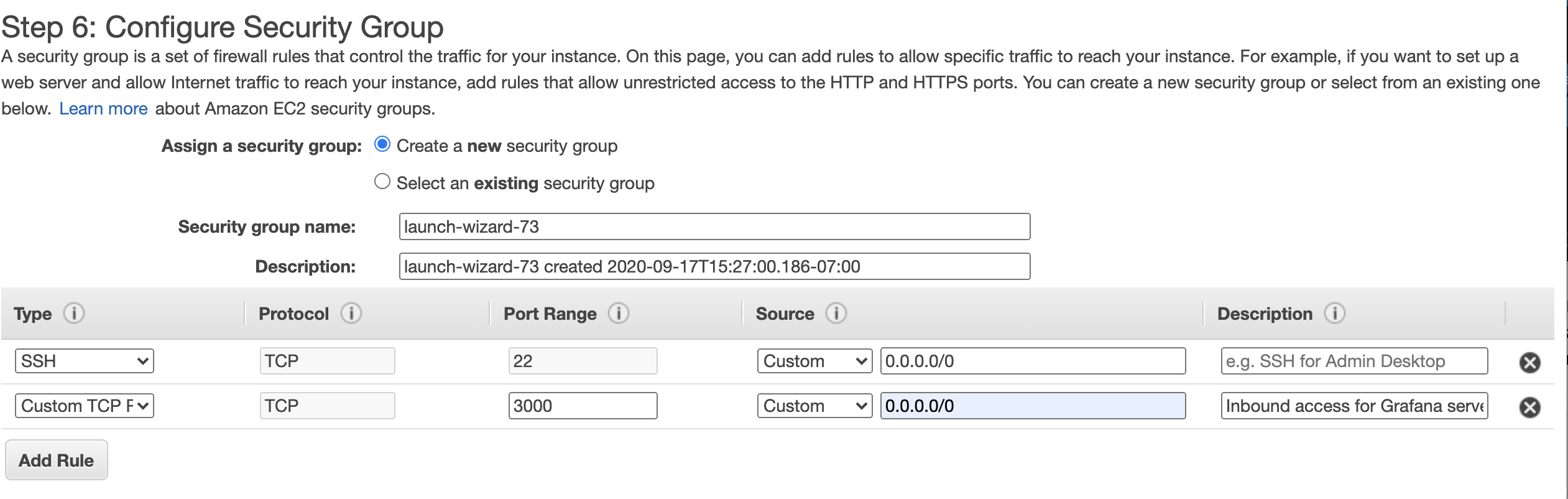 Grafana Instance Security Group